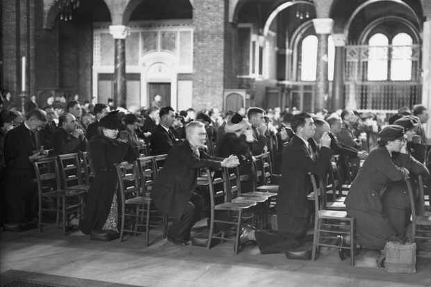 The congregation in Westminster Cathedral, London, during National Prayer Day, 7 September 1941. (Photo by Keystone/Hulton Archive/Getty Images)