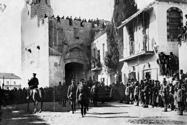 General Edmund Allenby enters Jerusalem on foot on 11 December 1917 during the British campaign in Palestine against Ottoman forces in the First World War (Heritage Images/Getty Images)
