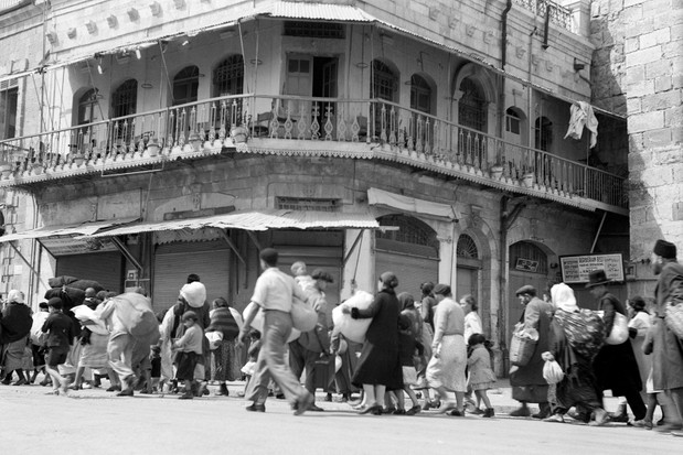Jewish families evacuate Jerusalem's Old City in 1936, during the Arab Revolt