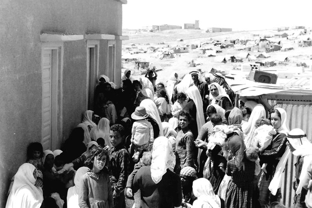 Palestinian refugees pictured during the first Arab-Israeli War in 1948