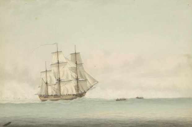 A depiction of HMS Endeavour off the coast of New Holland, by Samuel Atkins c1794. (Photo by UtCon Collection / Alamy Stock Photo)