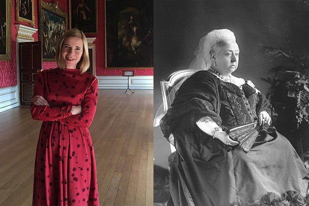 Left: Historian Lucy Worsley at Kensington Palace, the childhood home of Queen Victoria, ahead of her interview for the History Extra podcast. Right: Queen Victoria sits for a portrait photograph. (Photo by W&D Downey via Getty Images)