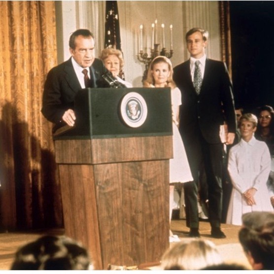Richard Nixon at the White House with his family following his resignation as president, 9 August 1974. (Photo by Keystone/Hulton Archive/Getty Images)