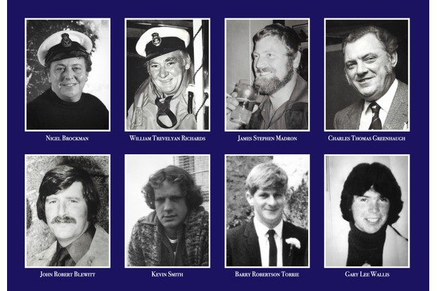 The crew of the 'Solomon Browne' lifeboat who tragically lost their lives on 19 December 1981. (Photo by RNLI Penlee)