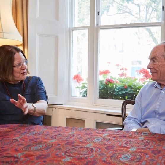 Professor Kathleen Burk and Simon Jenkins discuss Jenkins's new book, 'A Short History of Europe'. (Photo by David Hampton for BBC World Histories magazine)