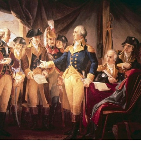A painting depicting George Washington with British soldiers at Yorktown. In the final battle of the war at the siege of Yorktown, writes Jem Duducu, there were nearlyas many French soldiers and sailors as American rebels fighting for colonial independence. (Photo by Universal History Archive/UIG via Getty Images)