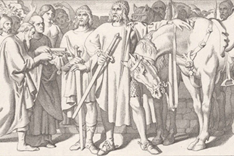 Tostig Godwinson, brother of King Harold II of England, and King Harald Hardrada of Norway (1015 - 1066) receive the submission of the city of York, 1066. Shortly afterwards, they were both killed at the nearby Battle of Stamford Bridge. Engraving by L. Gruner after D. Maclise RA. (Photo by Hulton Archive/Getty Images)