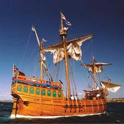The replica of 'The Matthew' arriving at Douarnenez, France in 1998. It was on the original 15th-century vessel that John Cabot travelled to North America. (Clive Mason/Allsport/Getty Images)