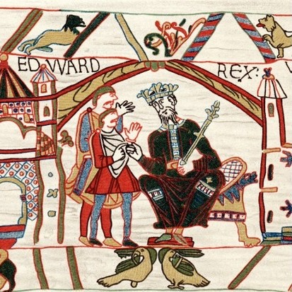 Edward The Confessor, Anglo-Saxon king of England, 1070s. Edward (c1003-1066), king from 1042, on his throne. After Edward's death, the throne was disputed between Harold Godwinson and William of Normandy, prompting the Norman Conquest of England. From the Bayeux Tapestry. The tapestry, which tells the story of the events leading to the Battle of Hastings in 1066, was probably commissioned by Odo, Bishop of Bayeux, William's half-brother. (Photo by Ann Ronan Pictures/Print Collector/Getty Images)