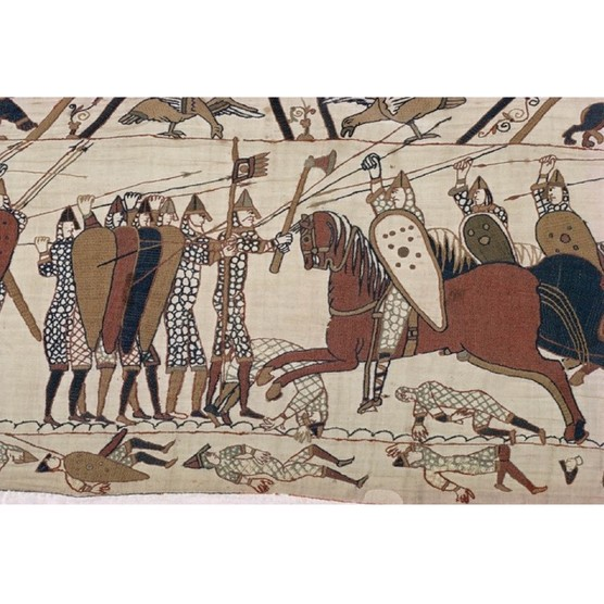 The battle scenes in the Bayeux Tapestry have taught military historians about fighting techniques in the 11th century. (Photo by Walter Rawlings/Robert Harding/Getty Images)