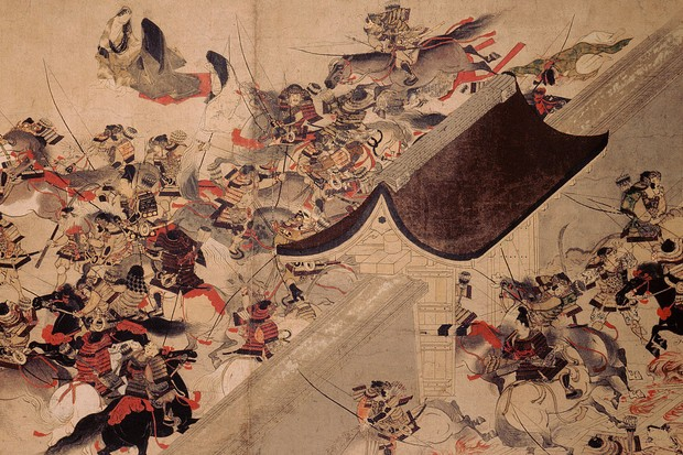 An illustration depicting the Heiji Insurrection of c1159 - one of the first samurai battles. (Photo by Alamy)
