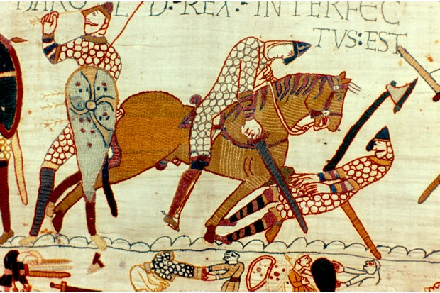 A scene from the Bayeux Tapestry showing the death of Harold II. The long-established story is that the king was killed by an arrow which struck him in the eye – but there are reasons to doubt that he really did die this way, says historian Marc Morris. (Photo by Universal History Archive/Getty Images)