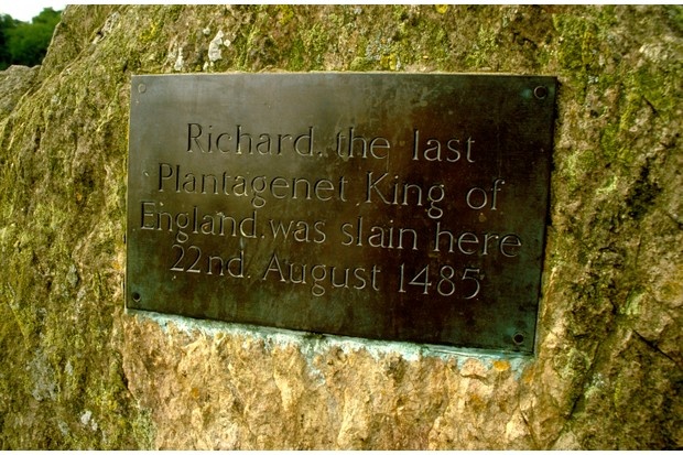 A commemorative plaque marking the death of Richard III, who died at the battle of Bosworth in 1485. (Photo by Getty Images)