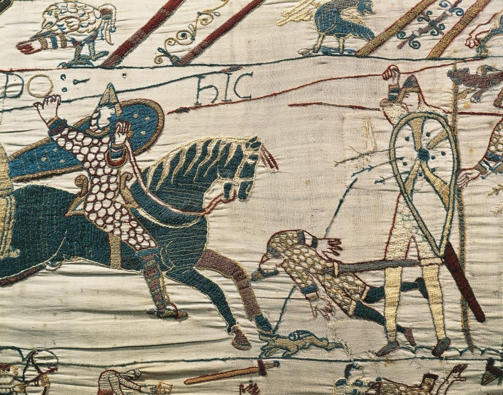 A scene from the Bayeux Tapestry depicting the death of King Harold II during the battle of Hastings in 1066. (Photo by Getty Images)