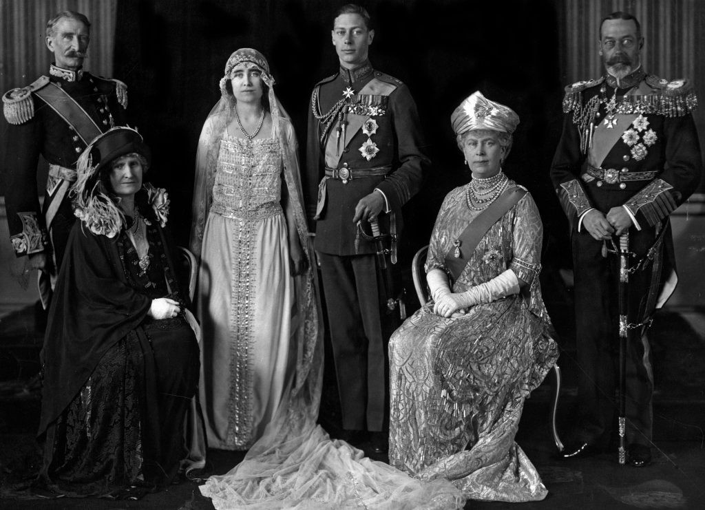 A wedding portrait of the Duke and Duchess of York with their parents, the Earl and Countess of Strathmore, and Queen Mary and King George V of England. (Photo by: Universal History Archive/UIG via Getty Images)