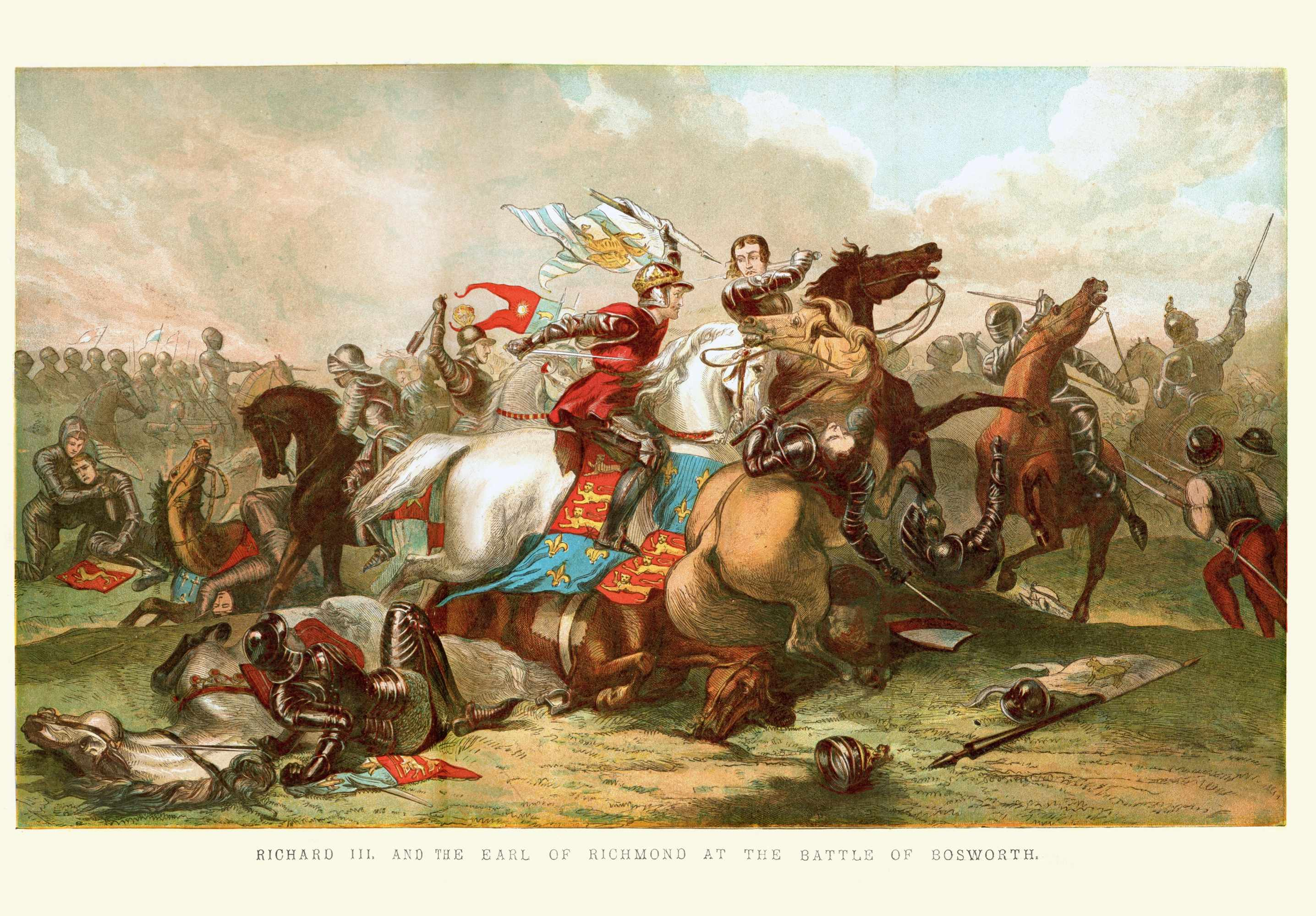A vintage colour lithograph depicting King Richard III at the battle of Bosworth. The battle of Bosworth (or Bosworth Field) was the last significant battle of the Wars of the Roses, the civil war between the Houses of Lancaster and York. (Photo by Getty Images)