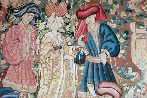 Detail from the Devonshire Hunting Tapestries, showing hawking. Made in Tournai in the 15th century. (Photo by CM Dixon/Print Collector/Getty Images)