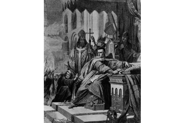 The coronation of William, duke of Normandy (also known as William the Conqueror) taking place amidst protests. The king holds his crown and a sword as he watches the turmoil in the church. Original artist: John Cross. (Photo by Rischgitz/Getty Images)