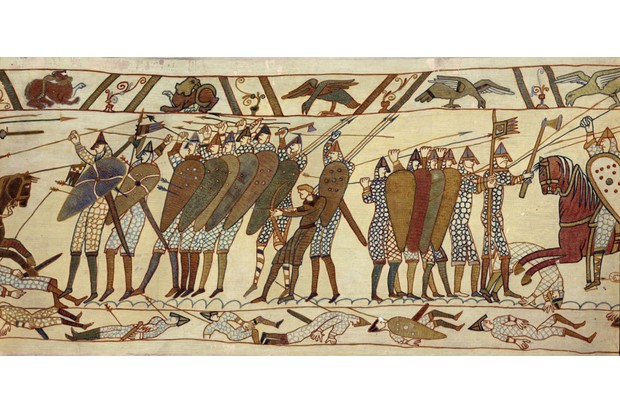A section of the Bayeux Tapestry, an embroidered cloth depicting the Norman Conquest of England and the battle of Hastings in 1066. (Photo by Spencer Arnold/Getty Images)