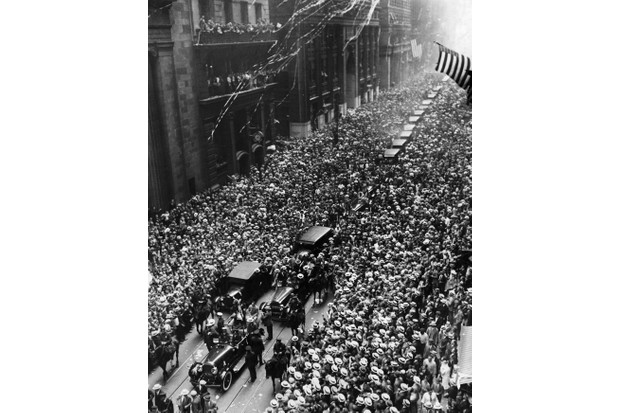 A procession on Broadway, New York, welcomes Ederle after her successful swim across the English Channel. (Photo by George Rinhart/Corbis via Getty Images)