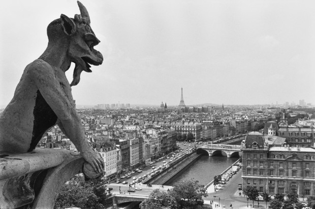 "A gargoyle on top of the Notre Dame de Paris cathedral in Paris, France. ""Strictly speaking, gargoyles are decorative waterspouts that preserve stonework by diverting the flow of rainwater away from the building,"" says Emma Wells. (Photo by Barbara Alper/Getty Images)"