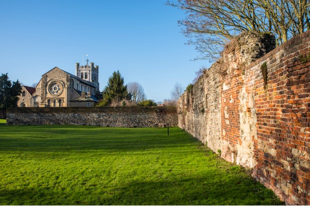 A view of the historic Waltham Abbey Church in Waltham Abbey, Essex. King Harold II, who died at the battle of Hastings in 1066, is believed by some to have been buried in the churchyard. (Photo by Getty Images)