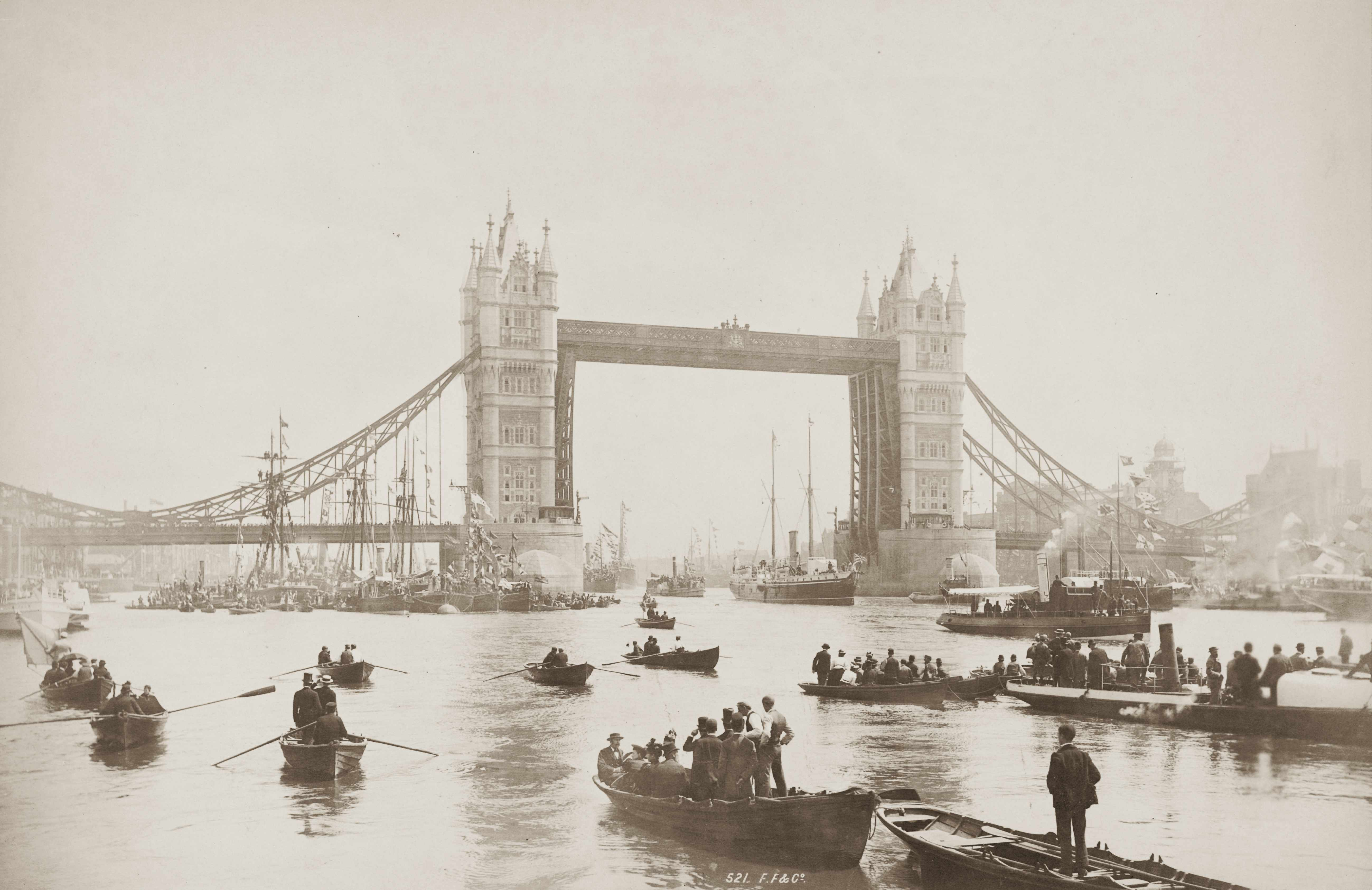 The opening ceremony of London's Tower Bridge on 30 June 1894. The bridge became a symbol of London's importance as a global maritime hub (Photo by Francis Frith/Hulton Archive/Getty Images)