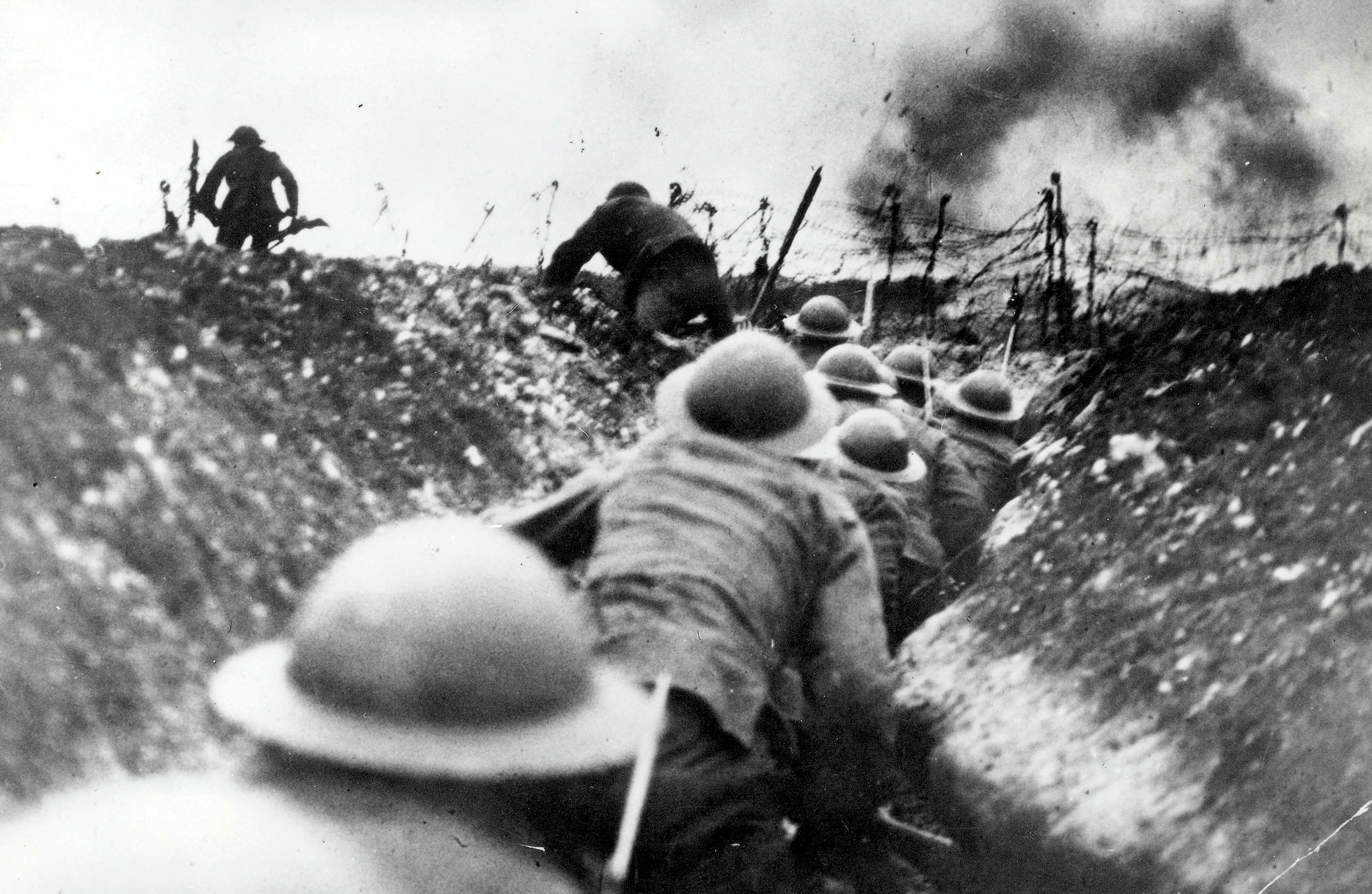 British troops go over the top of the trenches during the Battle of the Somme, 1916. The Somme was one of the bloodiest clashes of the First World War, causing more than one million casualties over five months. (Photo by Paul Popper/Popperfoto/Getty Images)
