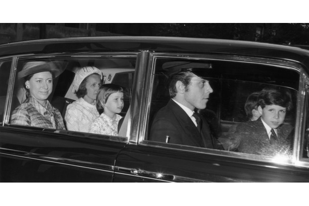 Princess Margaret with her children David Armstrong-Jones, Viscount Linley (front seat) and Lady Sarah Armstrong-Jones (now Lady Sarah Chatto), 1970. (Photo by Mike Lawn/Fox Photos/Getty Images)