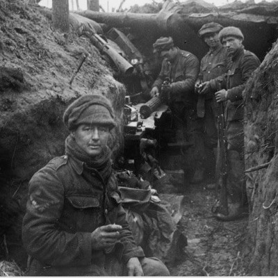 British troops in the trenches, Belgium, c1914–15. The horrors of the First World War lived long in the memories of its centenarian survivors. (Photo by Fotosearch/Getty Images)