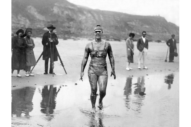 When swimmer Gertrude Ederle set out on her attempt to swim the English Channel, she was covered in three layers of grease: a base layer of olive oil; then lanolin, a heavy yellow-white grease; and on top of that a coat that combined lard and Vaseline. (Photo by NY Daily News Archive via Getty Images)