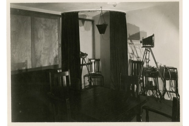 """When the psychical researcher Harry Price tested Helen Duncan at his National Laboratory of Psychical Research in South Kensington, London, in May 1931, she sat on this oak carver. Price compared his séance room to """"a gentleman's library, comfortably furnished with a home-like atmosphere"""". (Photo courtesy of Ashmolean Museum)"""