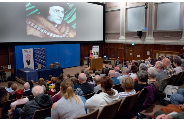 Inside the Tempest Anderson lecture theatre at Yorkshire Museum, an audience watches as historian Tracy Borman delivers a talk on Henry VIII and the men who made him. (Photo by Mark Bickerdike for BBC History Magazine)
