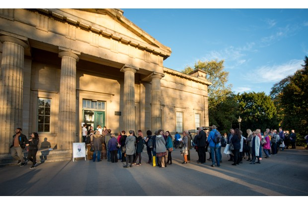 History enthusiasts queue outside Yorkshire Museum. (Photo by Mark Bickerdike for BBC History Magazine)