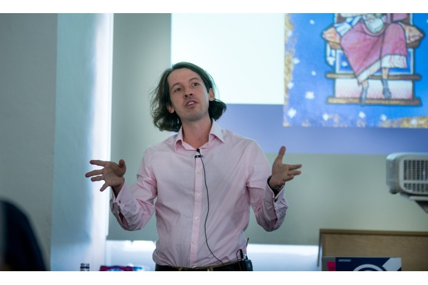 Historian Levi Roach delivered an animated talk on King Æthelred and the Vikings. (Photo by Mark Bickerdike for BBC History Magazine)