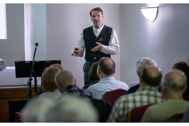Archaeologist Max Adams explored the landscapes of Britain in his talk on the Viking age. (Photo by Mark Bickerdike for BBC History Magazine)