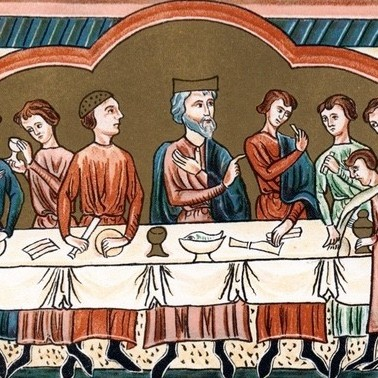 A Plantagenet king of England dining. The king depicted is possibly Henry II, who reigned from 1154–1189. (Photo by Ann Ronan Pictures/Print Collector/Getty Images)