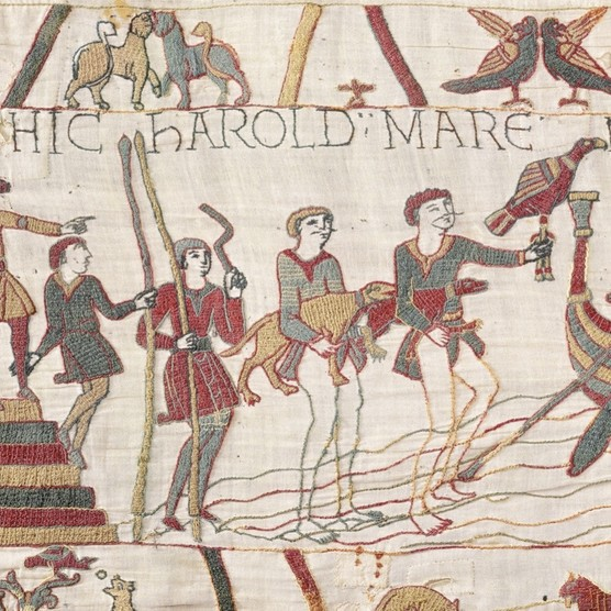 Men are shown wading in the sea with bared legs, but all of them have taken the trouble to cover their modesty. (© Bayeux Museum)