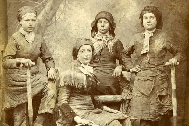 Pit Brow Lasses from an unknown colliery in Wigan, Lancashire, c1887. (Photograph by Herbert Wragg. Courtesy of the Trustees of the National Coal Mining Museum for England)