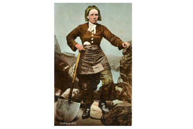 A 'Pit Brow Lass' shown on one of the Milton Postcards, circa late 19th century. (Courtesy of the Trustees of the National Coal Mining Museum for England)