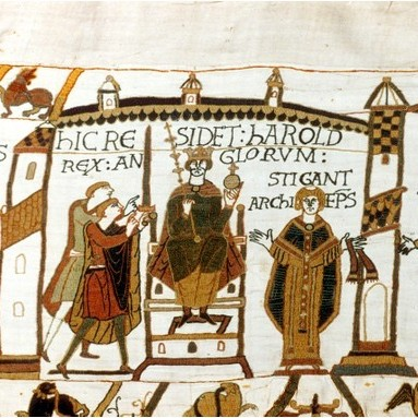 Harold Godwinson is proclaimed king of England in the Bayeux Tapestry. It may have been commissioned by a Norman but this magnificent artwork repeatedly acknowledges the English leader's piety and courage. (Photo by Universal History Archive/Getty Images)