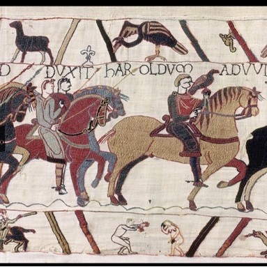 A scene from the Bayeux Tapestry depicting a naked man with an erection reaching out towards a naked woman, who is covering both her face and her pudenda with her hands. (Photo by Bayeux Museum)