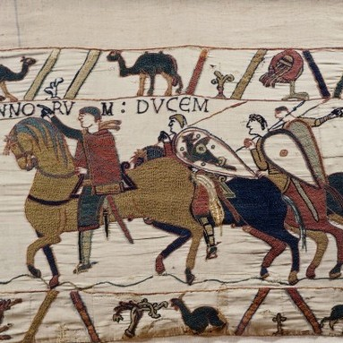William the Conqueror and his escorts on horseback, detail from the Bayeux Tapestry. (Photo by DeAgostini/Getty Images)