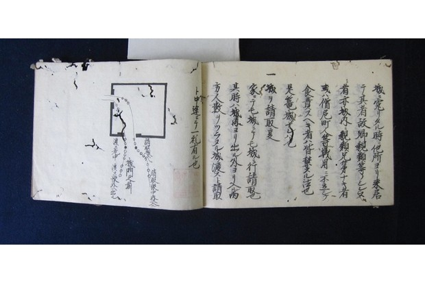 A page from the 17th-century manuscript 'Heieki Yōhō' describing the correct way to surrender a castle. The occupants who are leaving the castle must form orderly lines as they move out through the gate shown on the left in the image, while the occupying samurai move in on the right. The two black circles show where the two leaders bow to each other as they exchange the fortress.