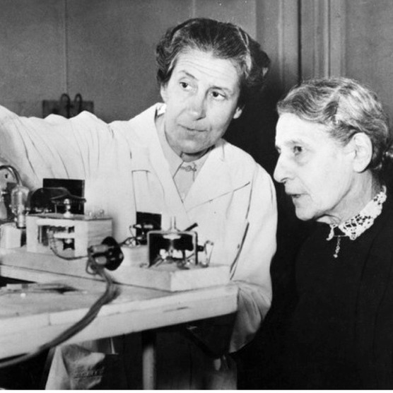 Austrian physicist Lise Meitner (right), photographed c1953. (Photo by ullstein bild via Getty Images)