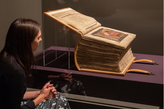 "The remarkable Codex Amiatinus, a ""giant of a book"", and part of a new exhibition at the British Library. (Photo by Sam Lane Photography/British Library)"
