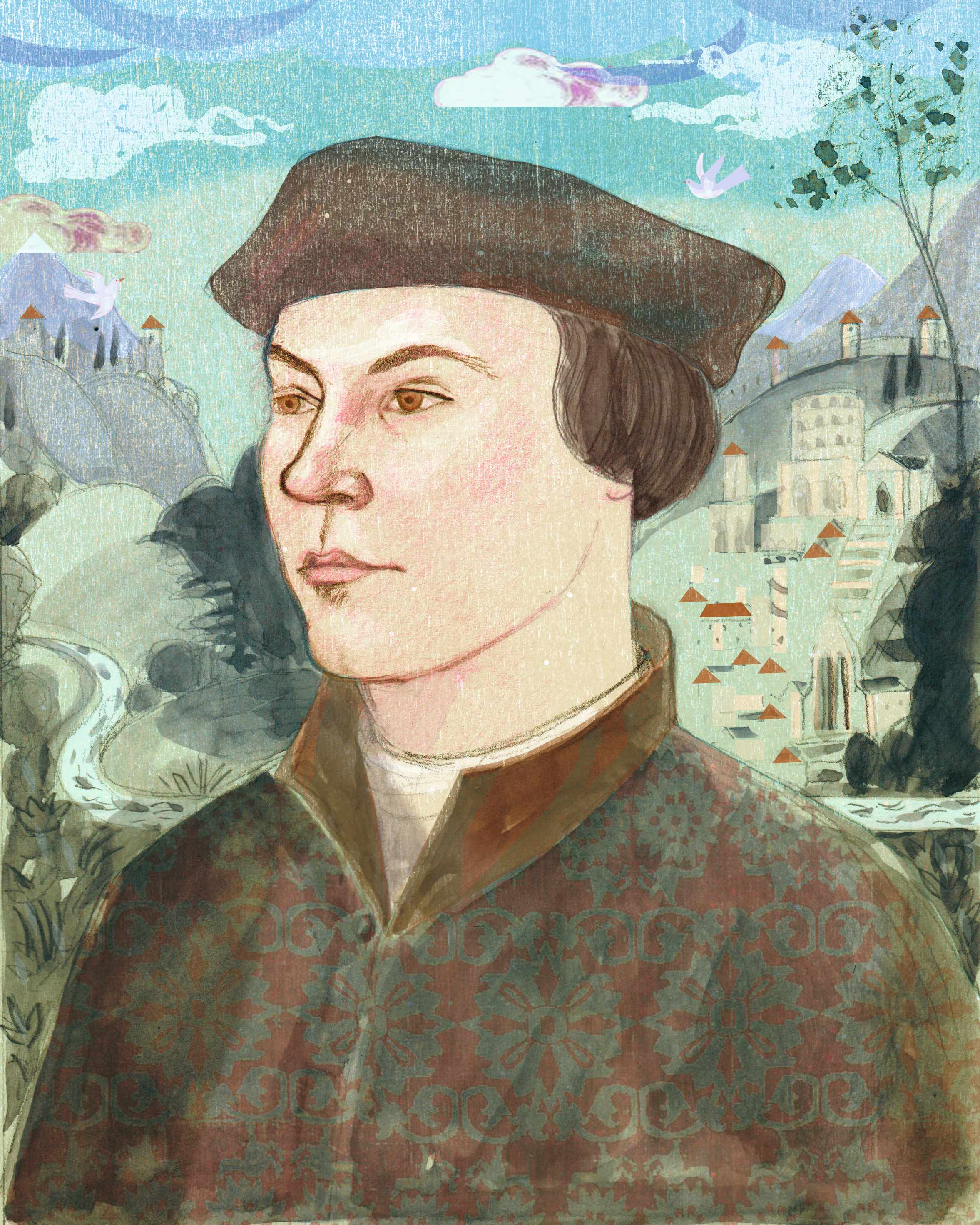 In c1500, the young Thomas Cromwell travelled from his humble Putney home to the great cities of Italy, as shown in our illustration. The connections he established on the Italian peninsula would prove key to his meteoric rise to power back in England. (Illustration by Sarah Young for BBC History Magazine)
