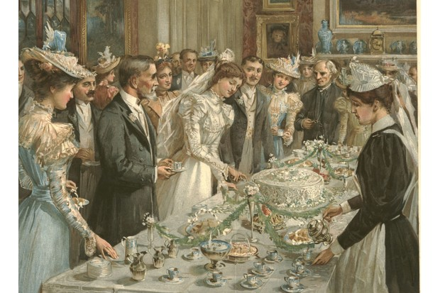 A wedding breakfast, depicted in 1897. Most couples enjoyed a celebration afterwards, usually at the home of the bride. (Photo by Alamy)