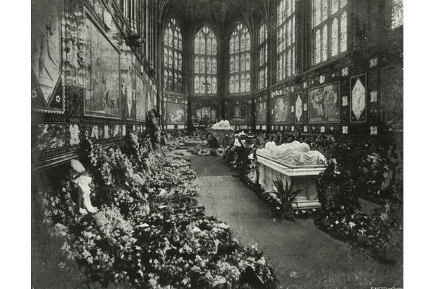 A depiction of the Albert Memorial Chapel, Windsor, during the funeral of the Duke of Clarence, January 1892. Painted c1897 by E&S Woodbury. (Photo by Print Collector/Getty Images)