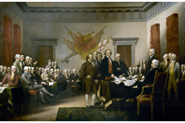 John Trumbull's painting of the signatories of the Declaration of Independence, 4 July, 1776. (Image by Bettmann/Getty Images)(Photo by Universal History Archive/Getty Images)